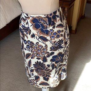 Ann Taylor woven floral fabric skirt